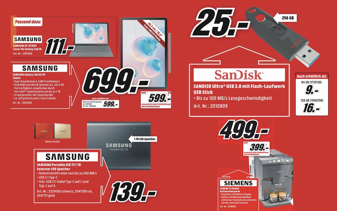 [Abholung] SanDisk Ultra 256GB USB-Stick =25€ | Samsung Galaxy Tab S6 LTE 256GB =699€ | Samsung T5 1TB USB3.1 SSD =139€ | u.a. Angebote