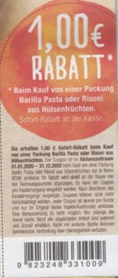 [Rewe] 1,00€ Coupon für Barilla Pasta oder Risoni aus Hülsenfrüchten - gültig bis 31.12.2020