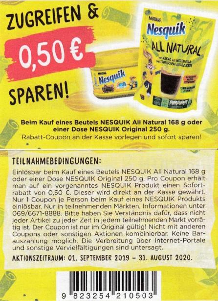 0,50€ Coupon für den Kauf von Nesquik All Natural/Original - gültig bis 31.08.2020