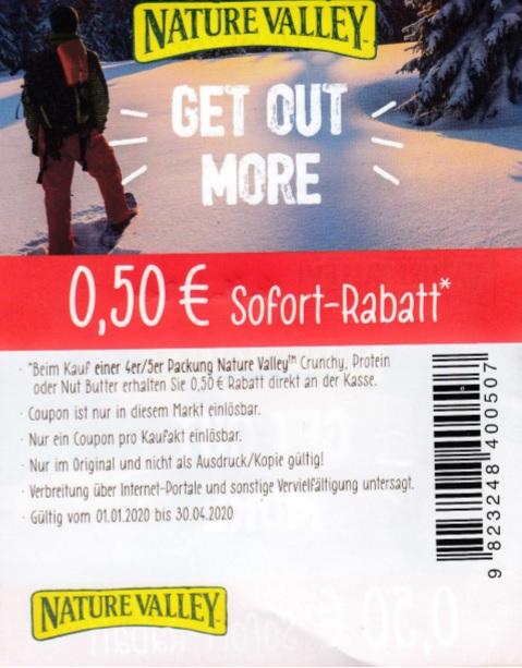 0,50€ Sofort-Rabatt für 4er/5er Nature Valley Riegel - gültig bis 30.04.2020
