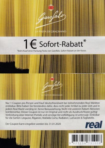 [REAL] 1€ Sofort-Rabatt für Garofalo Pasta - gültig bis 31.01.2020