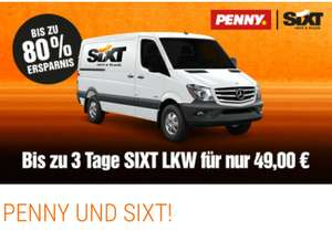 Sixt Transporter LKW bei Penny 3 Tage 49€