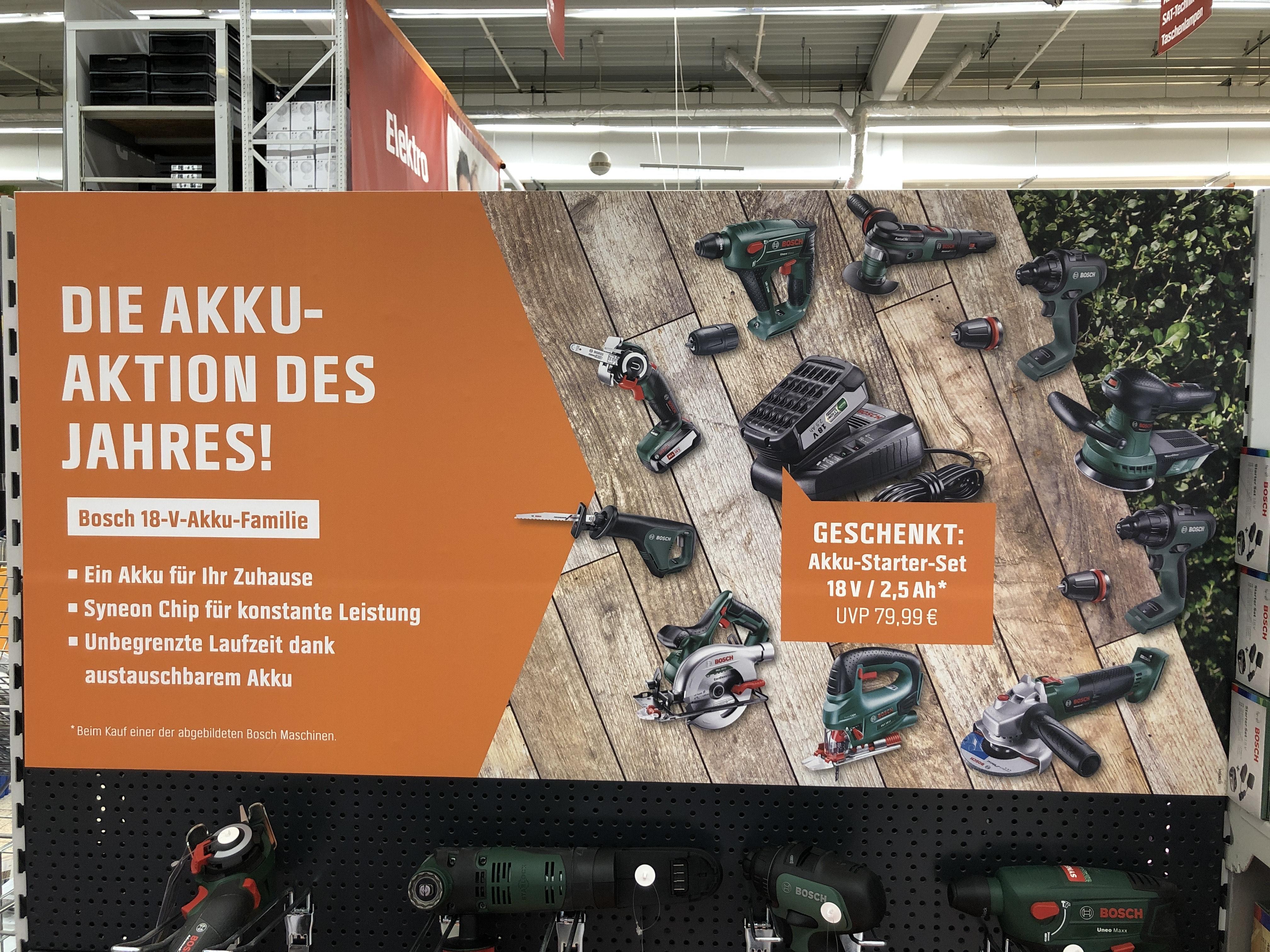[OBI] Akku-Aktion für Werkzeuge von Bosch grün - 2,5Ah-Akku kostenlos zu jeden Gerät