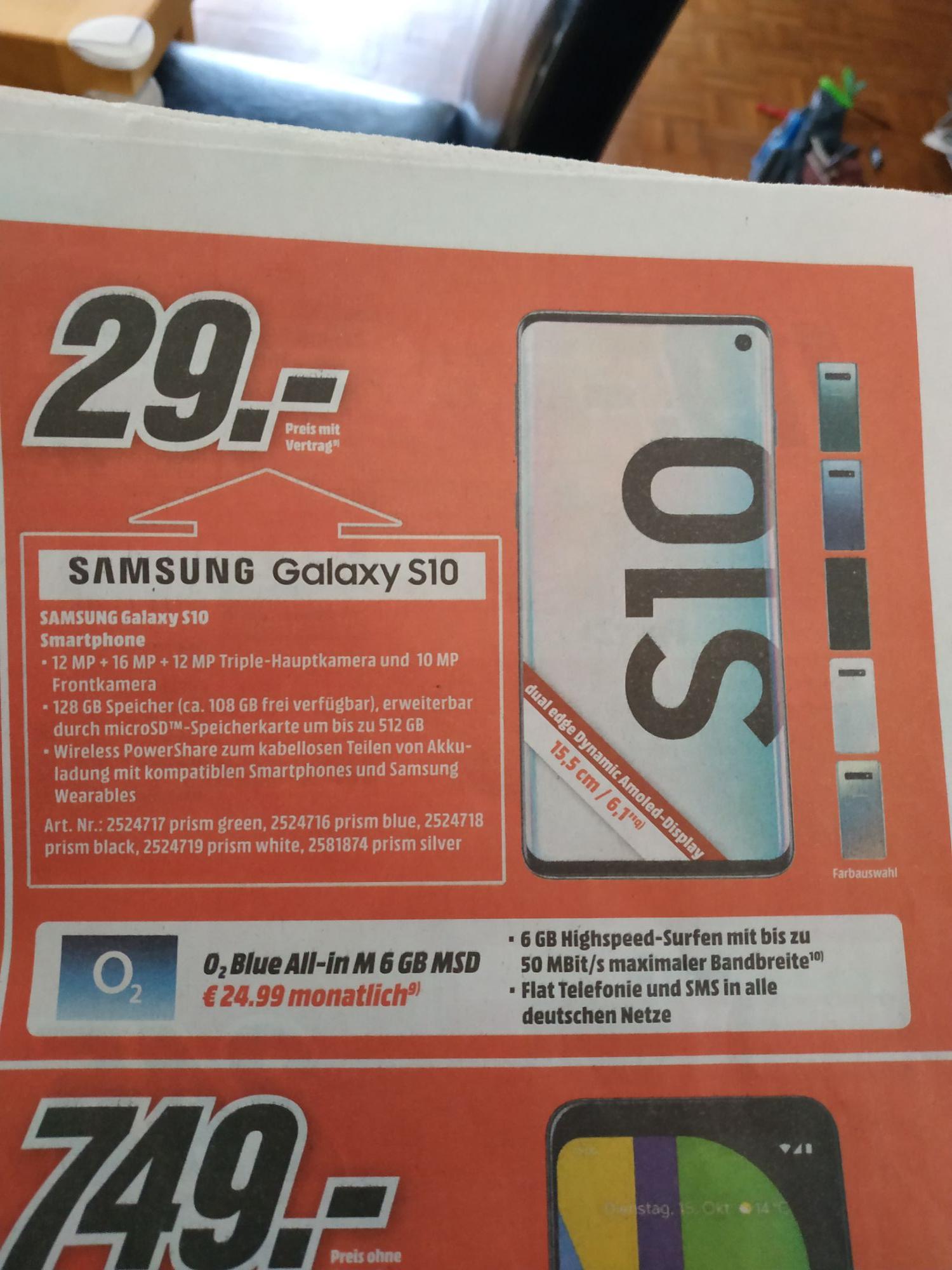 MediaMarkt/Saturn Samsung Galaxy S10 inkl O2 Blue All-in 6GB MSD