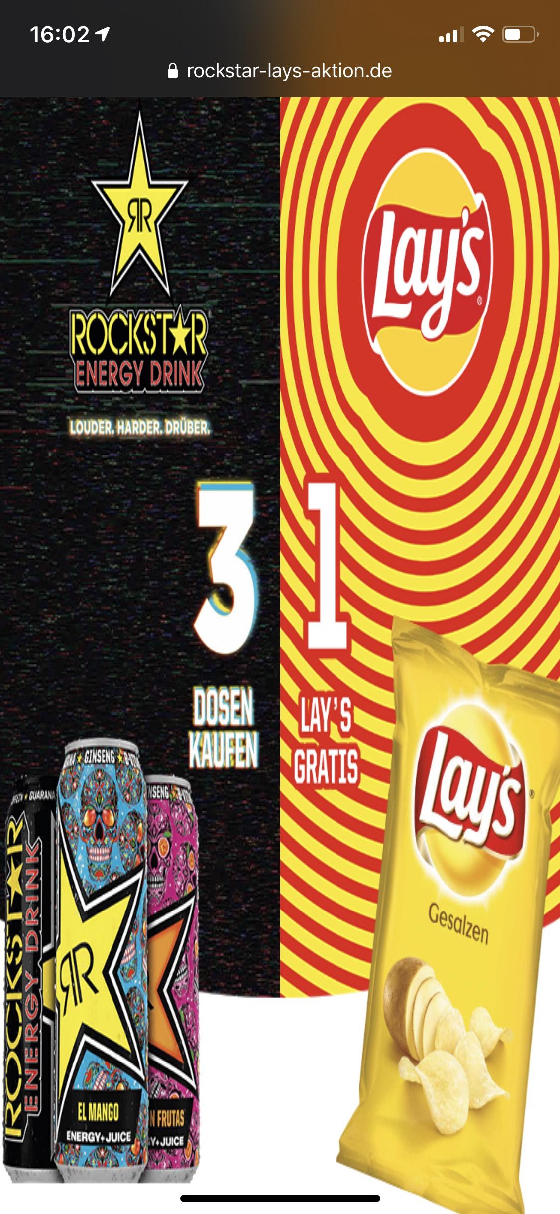 Rockstar Lay's Aktion effektiv 3,57€ durch Cashback Scondoo und Coupies