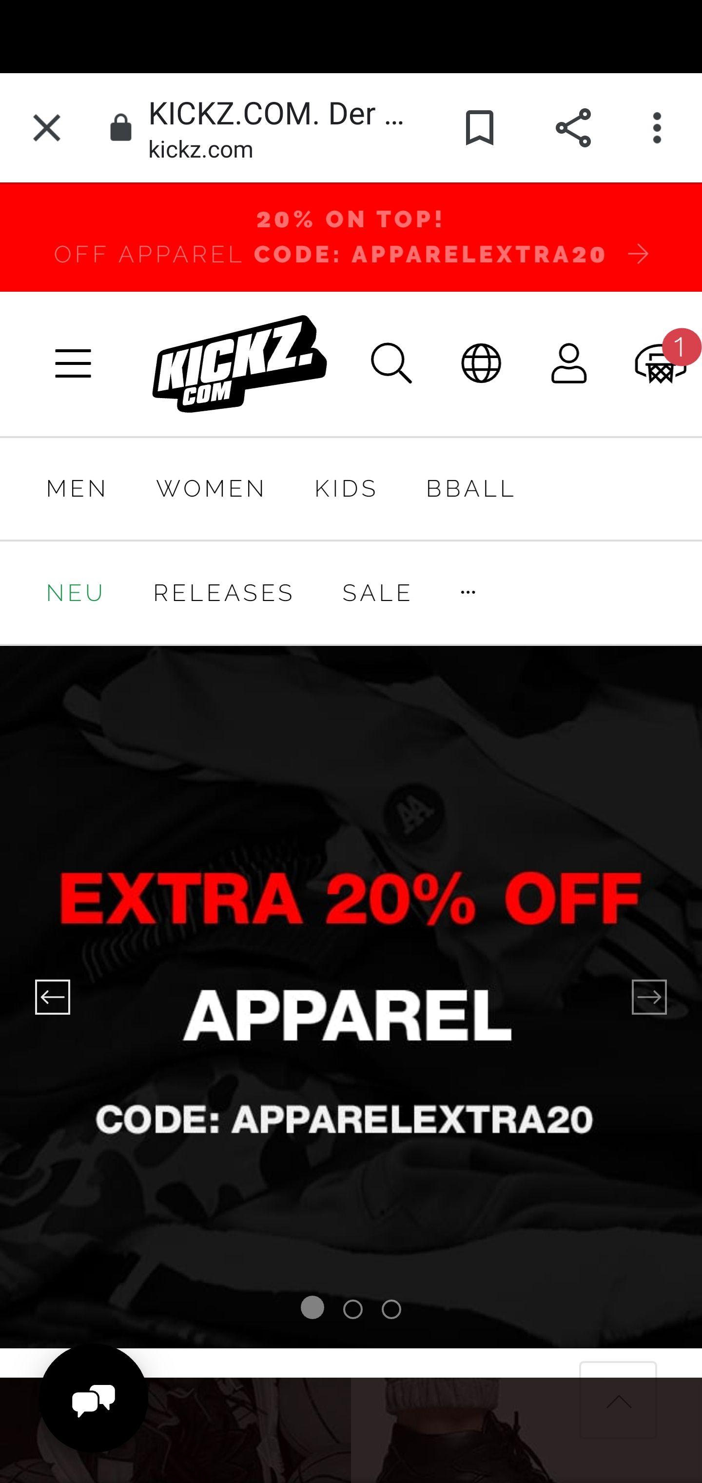 KICKZ.com 20% Extra auf den kompletten Sale bei Kleidung