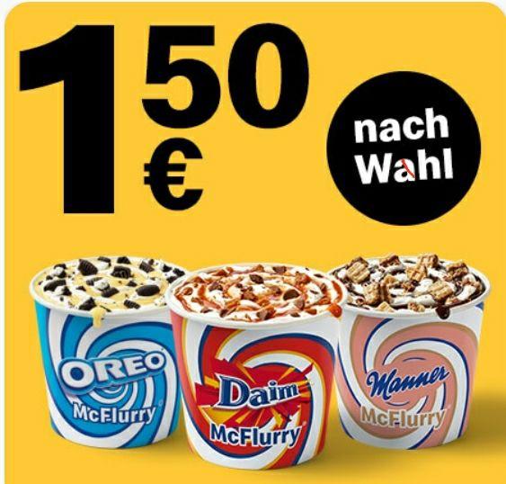 1x McFlurry nach Wahl für 1,50€ [McDonalds App]