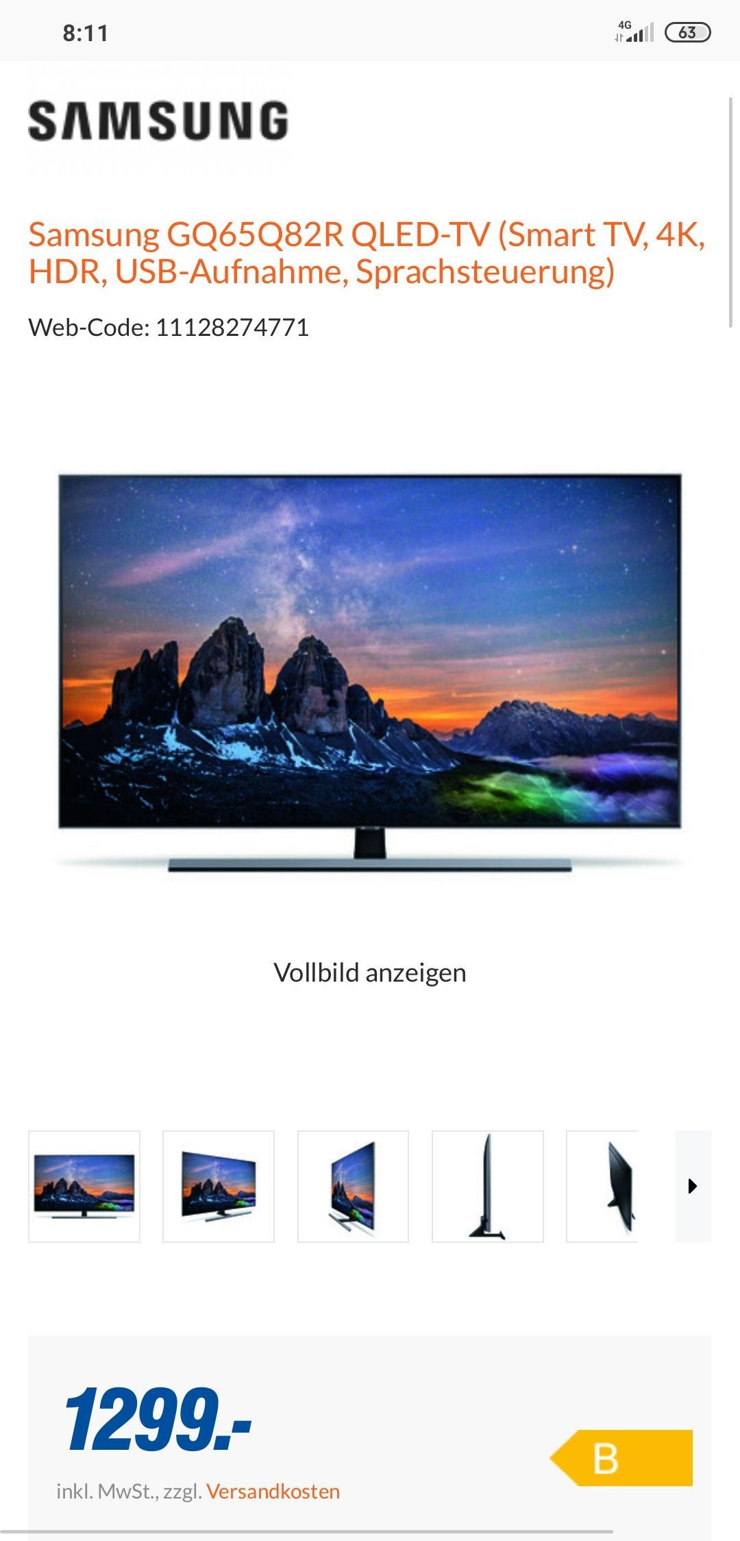 Samsung QLED TV GQ65Q82R Baugleich GQ65Q80R