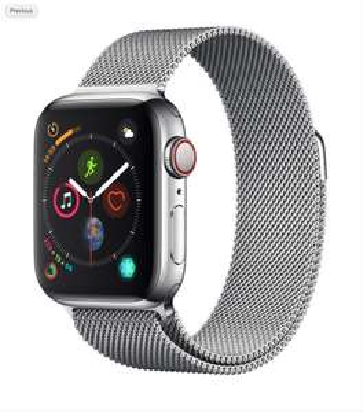 Apple Watch Series 4 [GPS + Cellular, inkl. Milanaise-Armband silber] 40mm Edelstahlgehäuse silber