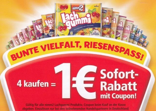 1€ Sofort-Rabatt beim Kauf von 4x Lachgummi - gültig bis 29.03.2020