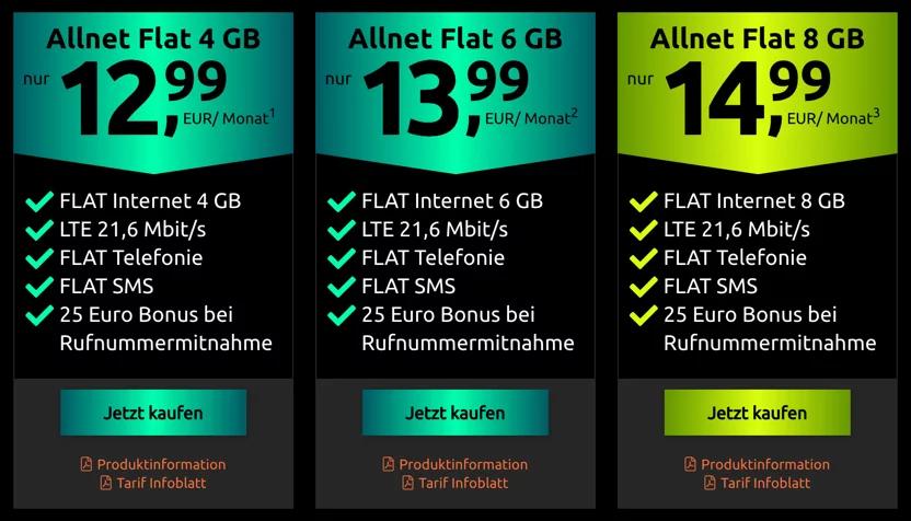 Crash/Klarmobil, Netz: Vodafone, Allnet-Flat 8GB LTE21,6, 14,99€/Monat, 24 Monate