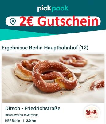 2€ Pickpack Gutschein - Freebie möglich z.b. 2x Brezel von Ditsch (auch Bestandskunden) [lokal]