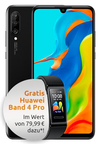 Huawei P30 lite New Edition 256 GB LTE + Huawei Band 4 Pro mit Klarmobil Allnet Flat 4 GB (Vodafone) für 14,99€ mtl. und einmalig 99€