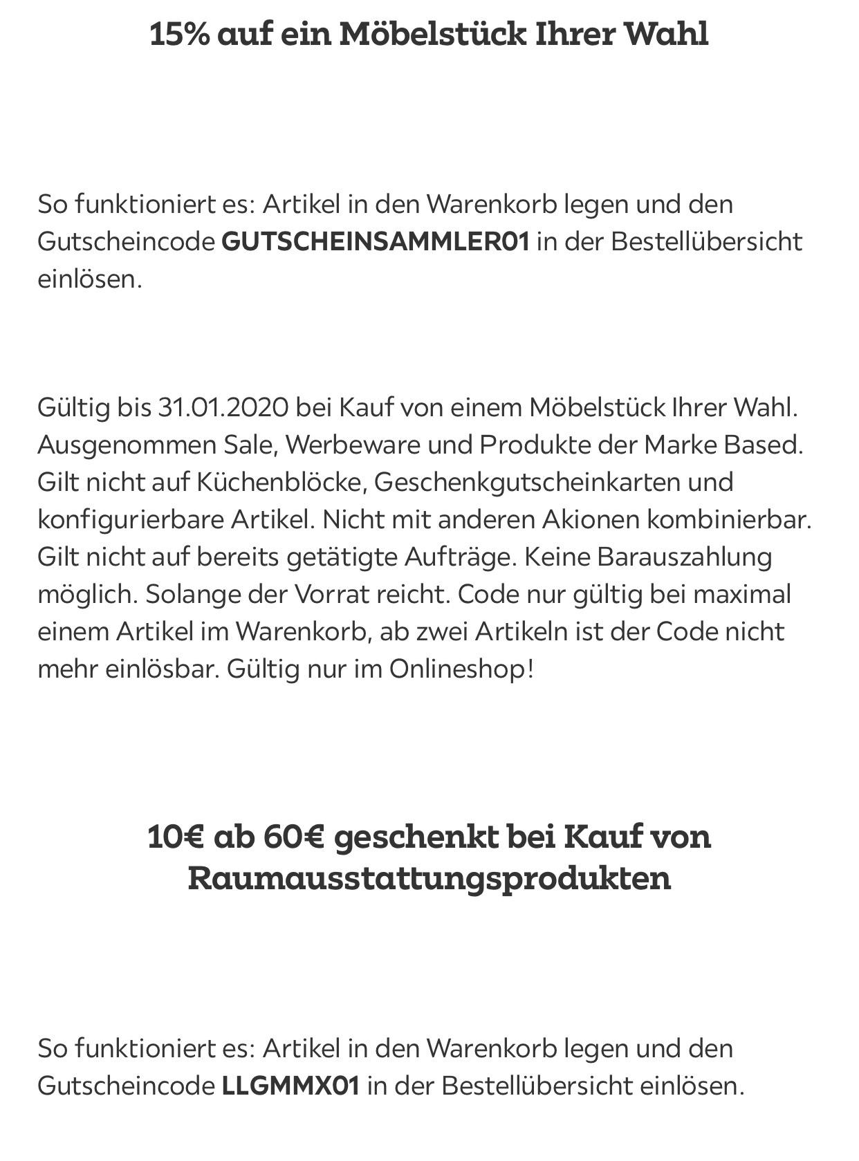 MÖMAX 15% / 10€ ab 60€ / 11% Newslettergutschein