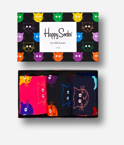 40% Rabatt auf ausgewählte Socken und Geschenksets + gratis Versand, 3x süße Katzensocken in Geschenkbox
