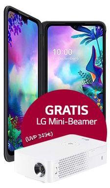 [O2 DSL Kombivorteil] LG G8X und LG Mini Beamer (Wert 319€) im O2 Free L (30GB LTE) mtl. 29,99€ einm. 39,95€ [ohne KV 1.079,70€]