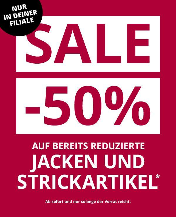 [Takko / Filiale] 50% auf bereits reduzierte Jacken und Strickartikel.