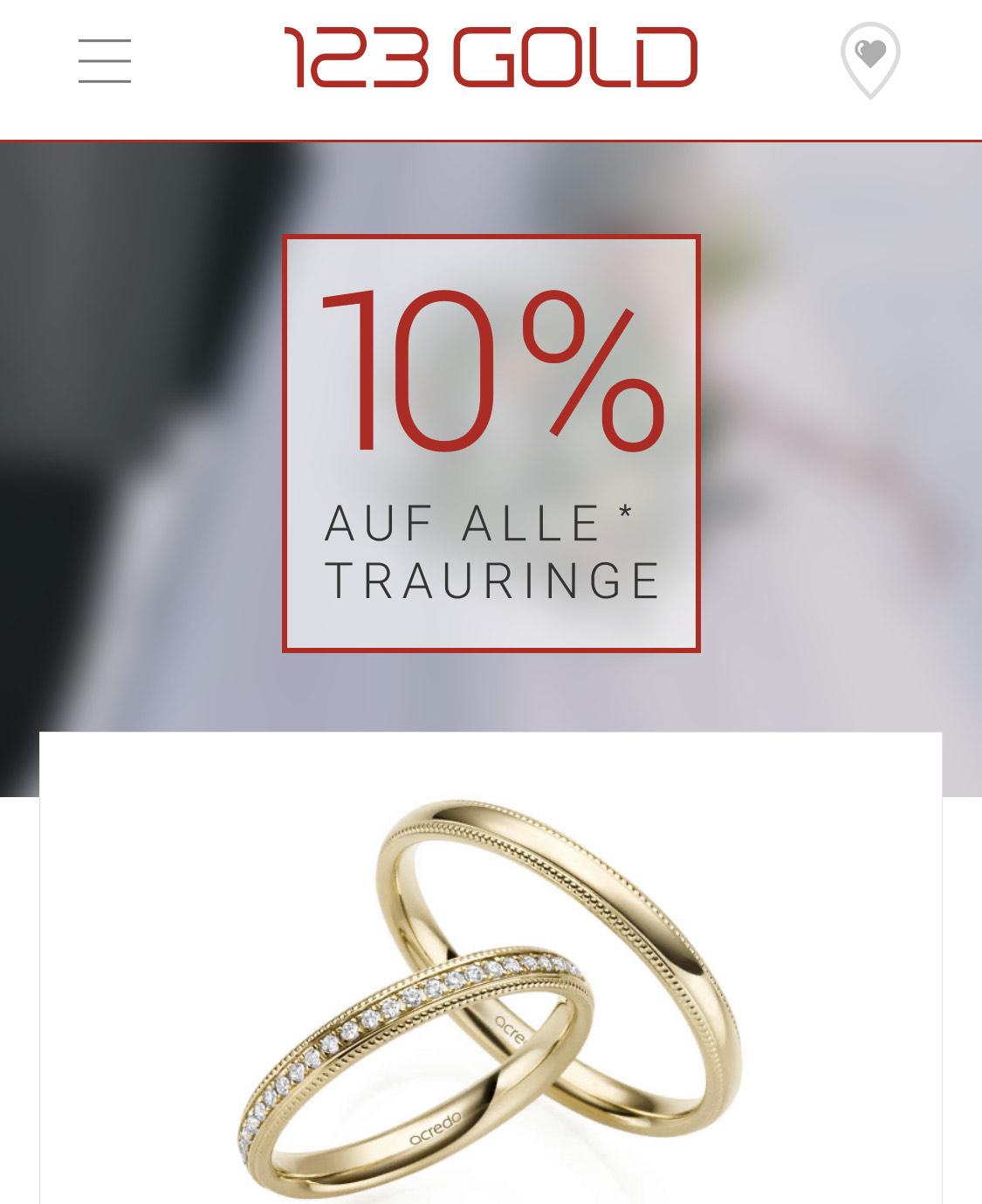 -10% auf alle Trauringe bei 123gold.de