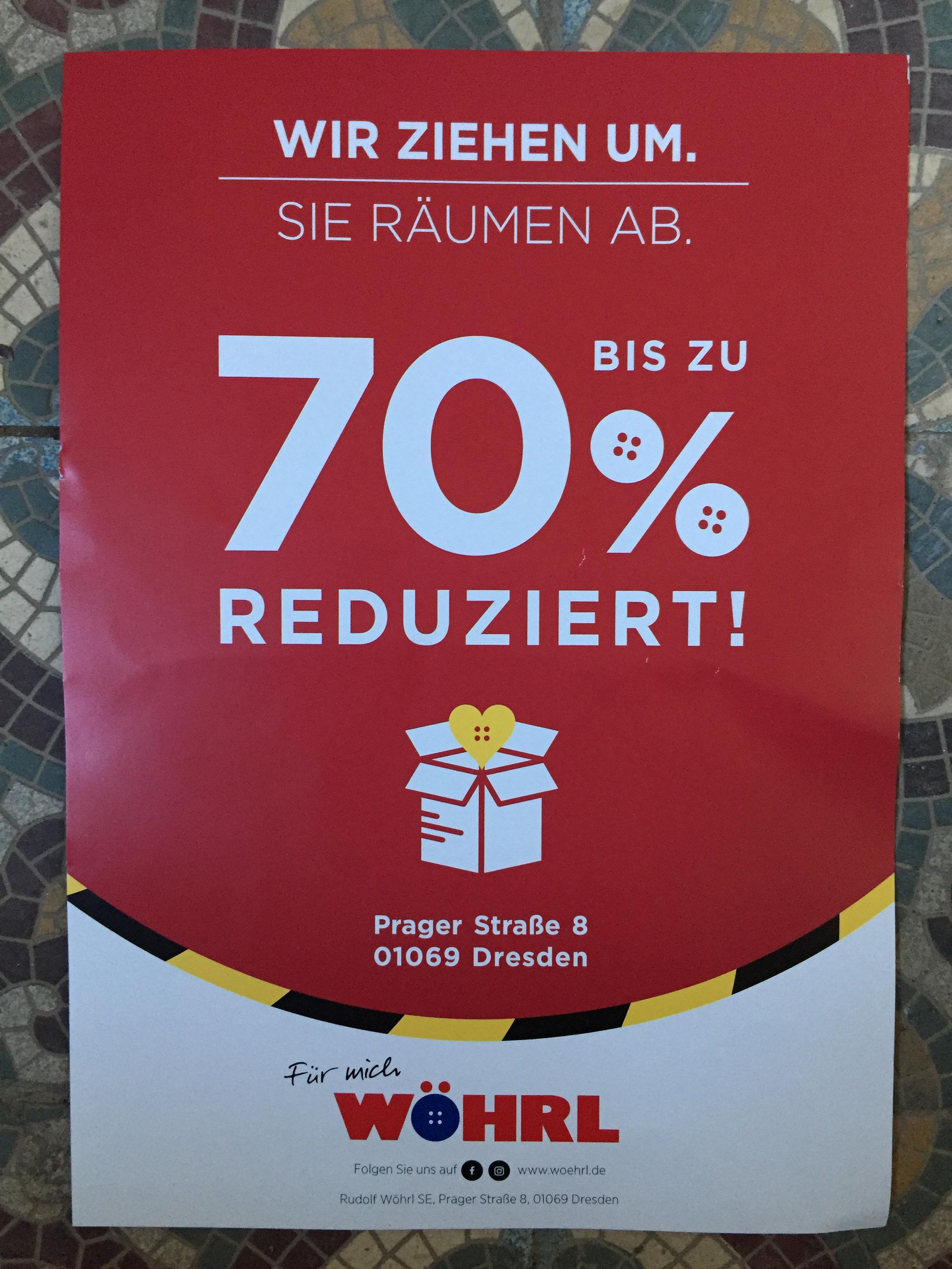 ~Wöhrl Dresden~ Bis zu 70% Rabatt wegen Umzug