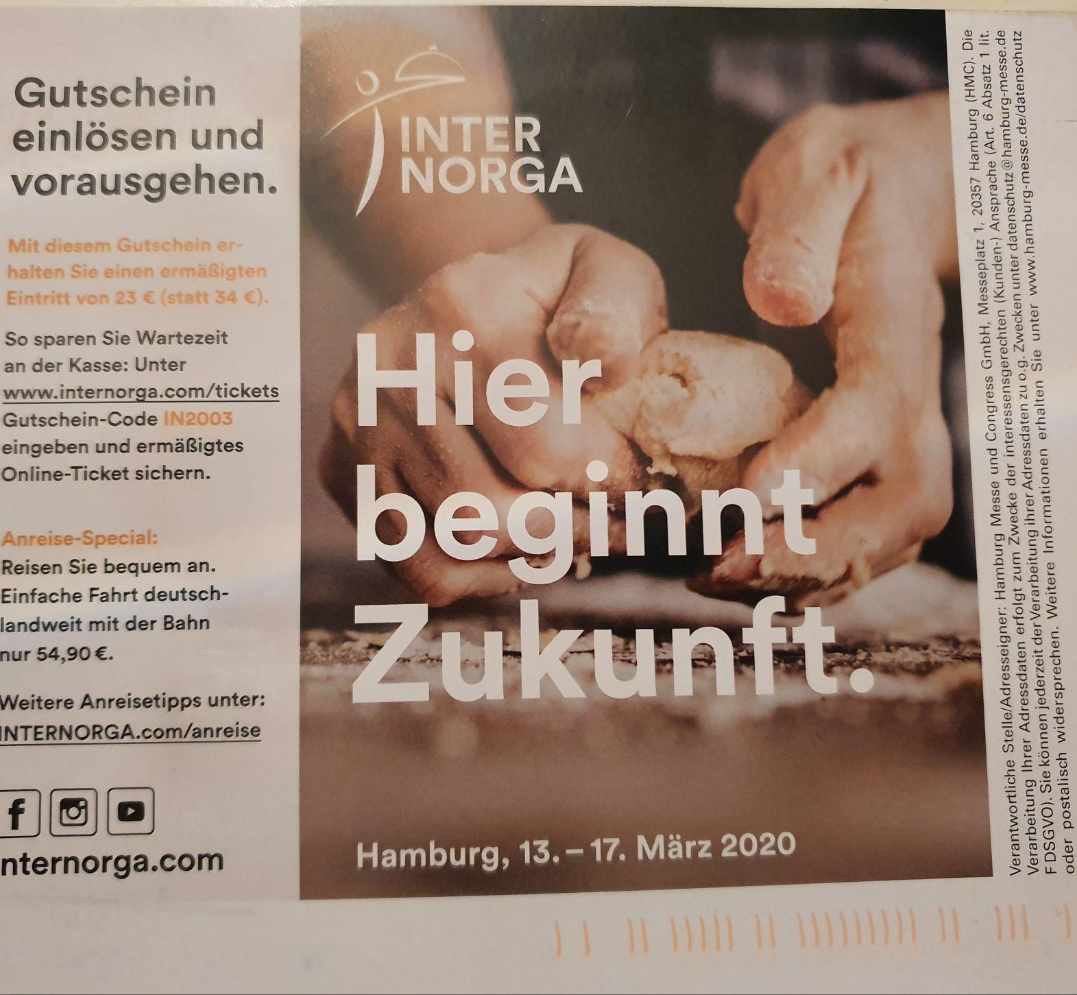 Internorga Gastronomie Messe in Hamburg, 13. - 17. März