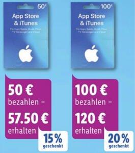 Lidl: Bis zu 20% zusätzliches Guthaben für iTunes & App Store Geschenkkarten - 25€, 50€ u. 100€ - ab 27.01.