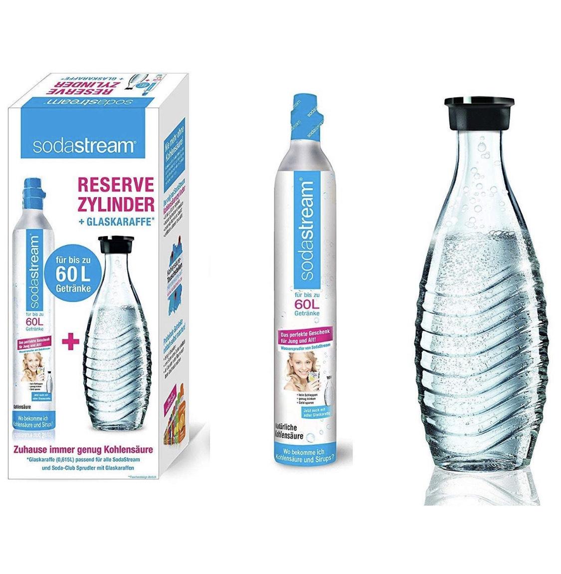 SodaStream Reservepack mit 1x CO2-Zylinder und 1x 0,6 L Glaskaraffe