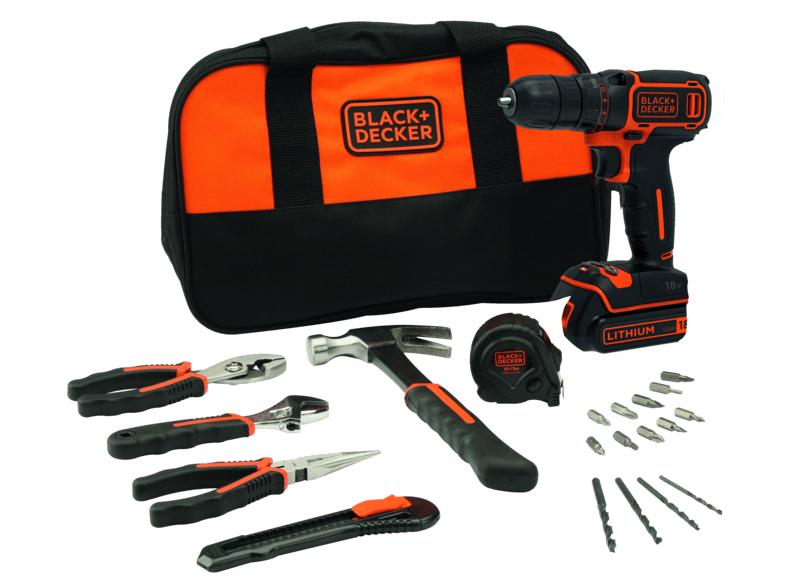 Black+Decker BDCDC18HTSA Akku-Bohrschrauber mit Zubehör (18V Schrauber, mit Hammer, Maßband, diverse Zangen, Bohrer und Bits)