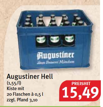 [lokal Süddeutschland] Augustiner Hell (1,55/l) Kiste mit 20 Flaschen à 0,5 l zzgl. Pfand 3,10