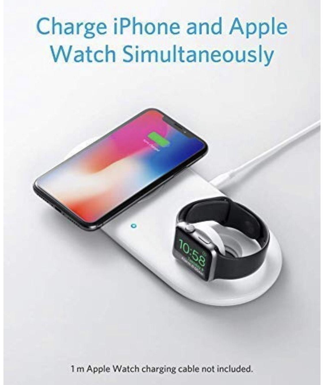 Anker PowerWave+ Ladepad mit Ladedock für Deine Watch, Qi-zertifiziertes 2-in-1 Ladepad mit Apple Watch Ladedock