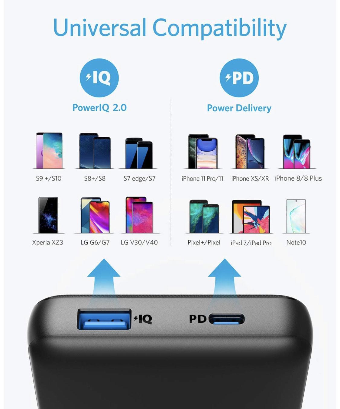 Anker PowerCore Essential 20000 PD externer Akku, 20000mAh USB-C Powerbank mit 18W Power Delivery, enorme Kapazität