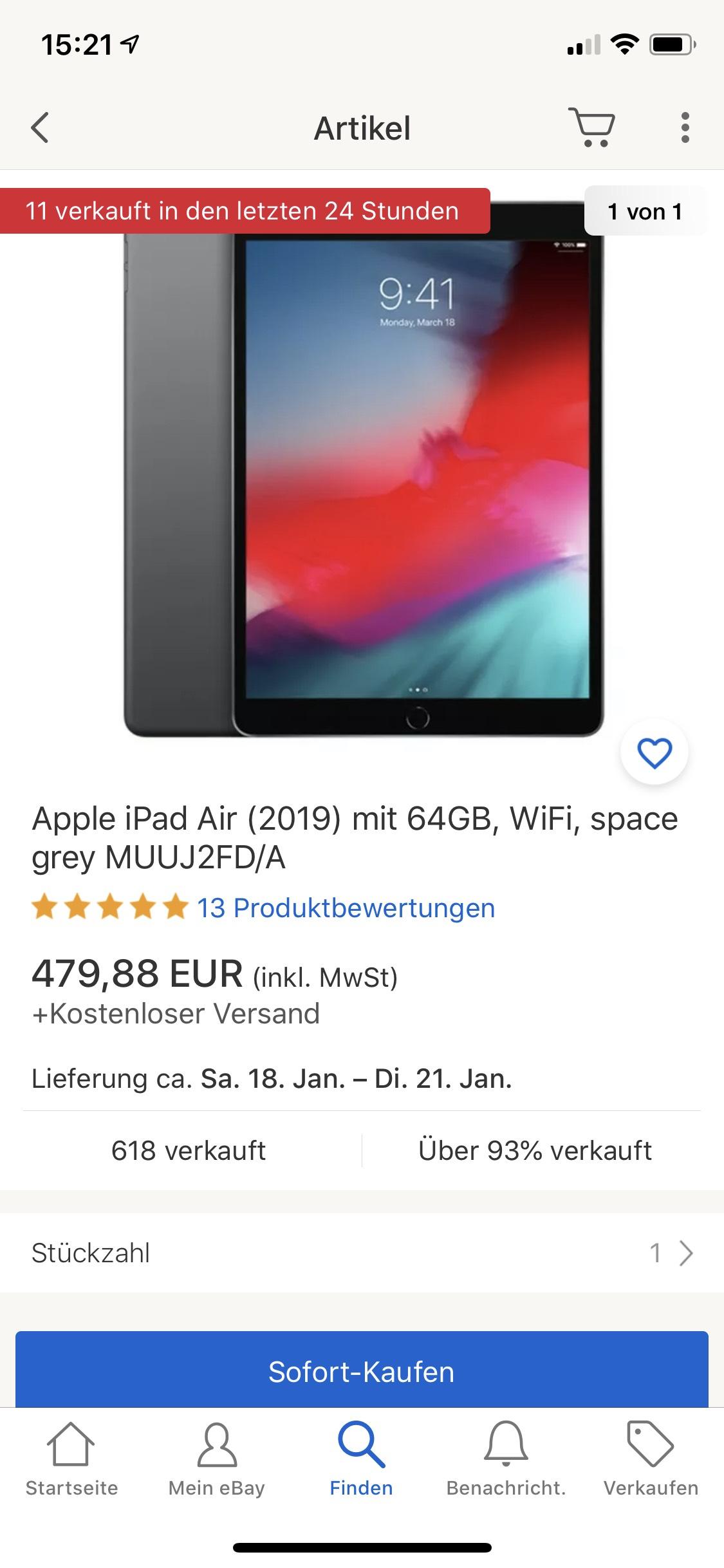 Apple iPad Air 3.gen 2019 64GB Space grey