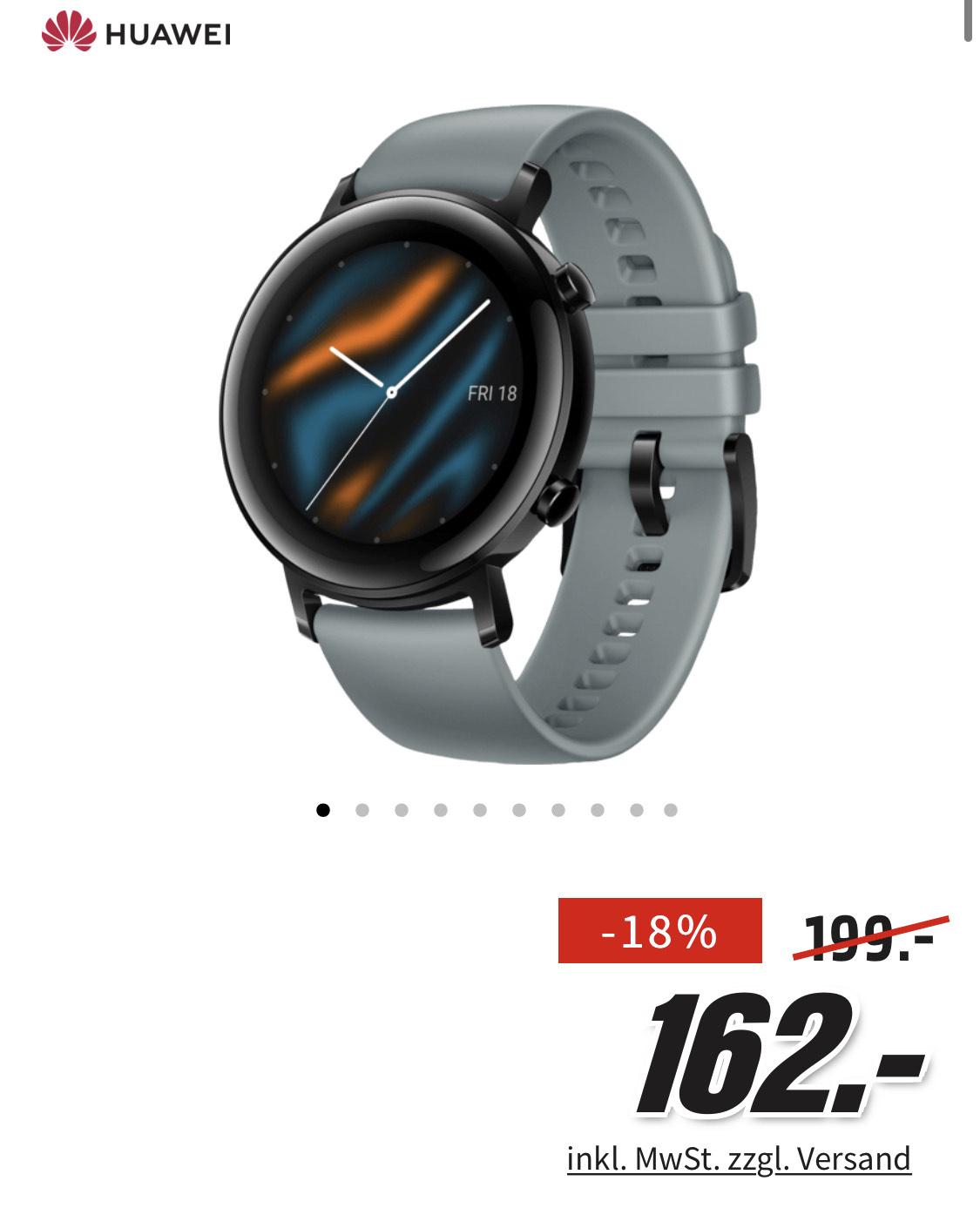 Media Markt - HUAWEI Watch GT 2 42mm Sport Smartwatch, Fluorkautschuk, 130-200 mm, Blaugrau