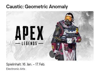 [Twitch Prime] Apex Legends Gratis Skin für Caustic: Geometric Anomaly (PC, PS4 oder XBox One)