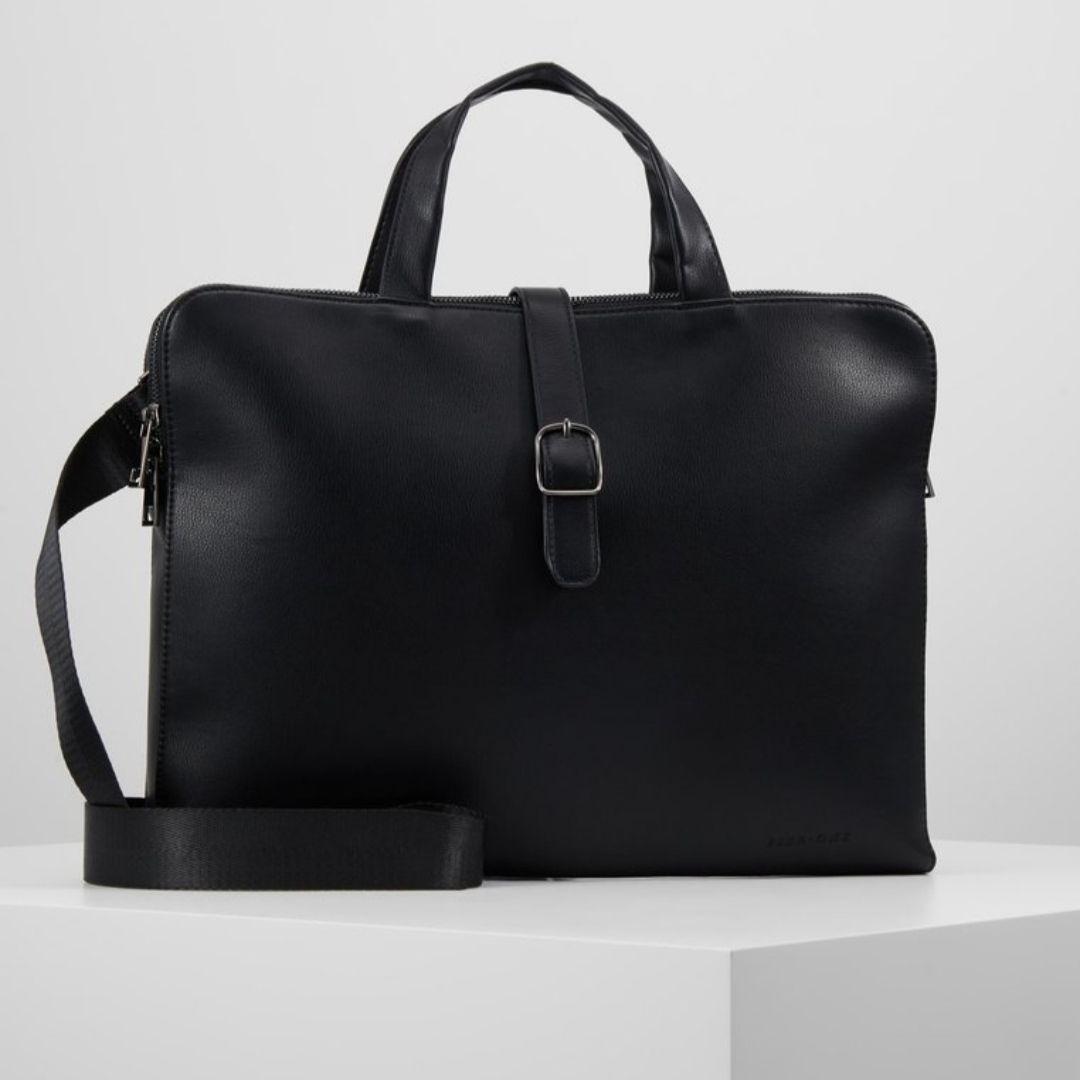 Pier One Aktentasche mit Tragegurt in schwarz | Kunstleder