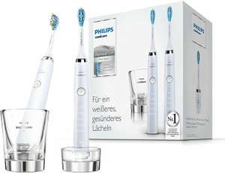 Philips Doppelpack 2x Sonicare DiamondClean Elektrische Zahnbürste HX9327/87 - 2 Schallzahnbürsten, 5 Putzprogramme, Timer & Ladeglas - Weiß