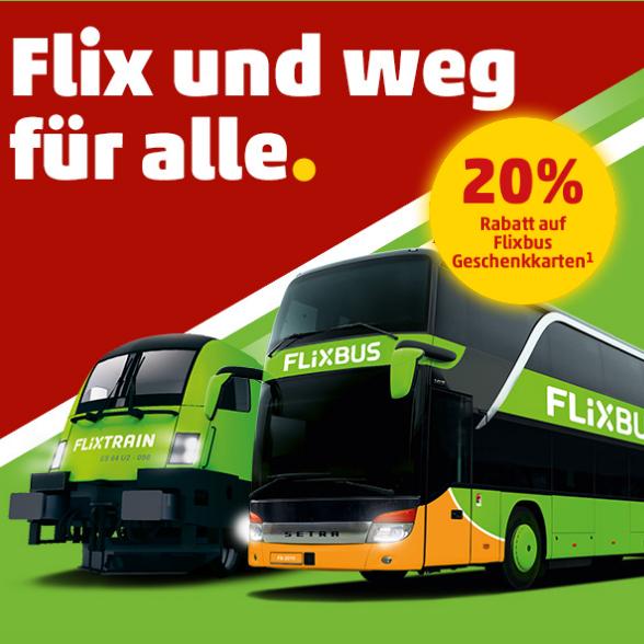 20% Rabatt auf FlixBus & FlixTrain Geschenkkarten [Penny]