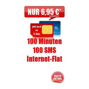 Handytarif: 100 Min. in alle Netze, 100 SMS, Internetflat (500MB Highspeed)