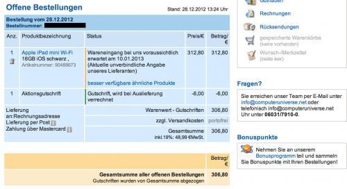 iPad mini 16GB Wifi für 301,64 € @ computeruniverse