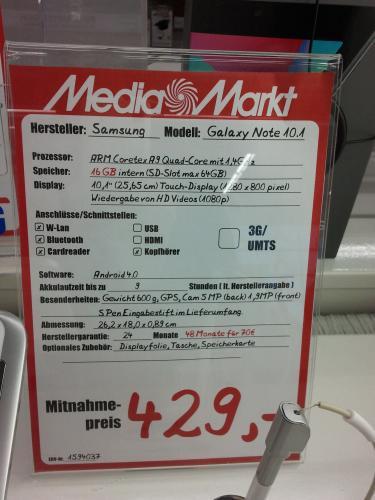 Media Markt Berlin Alexa - Samsung Galaxy Note 10.1 in weiß, wifi für 429 €
