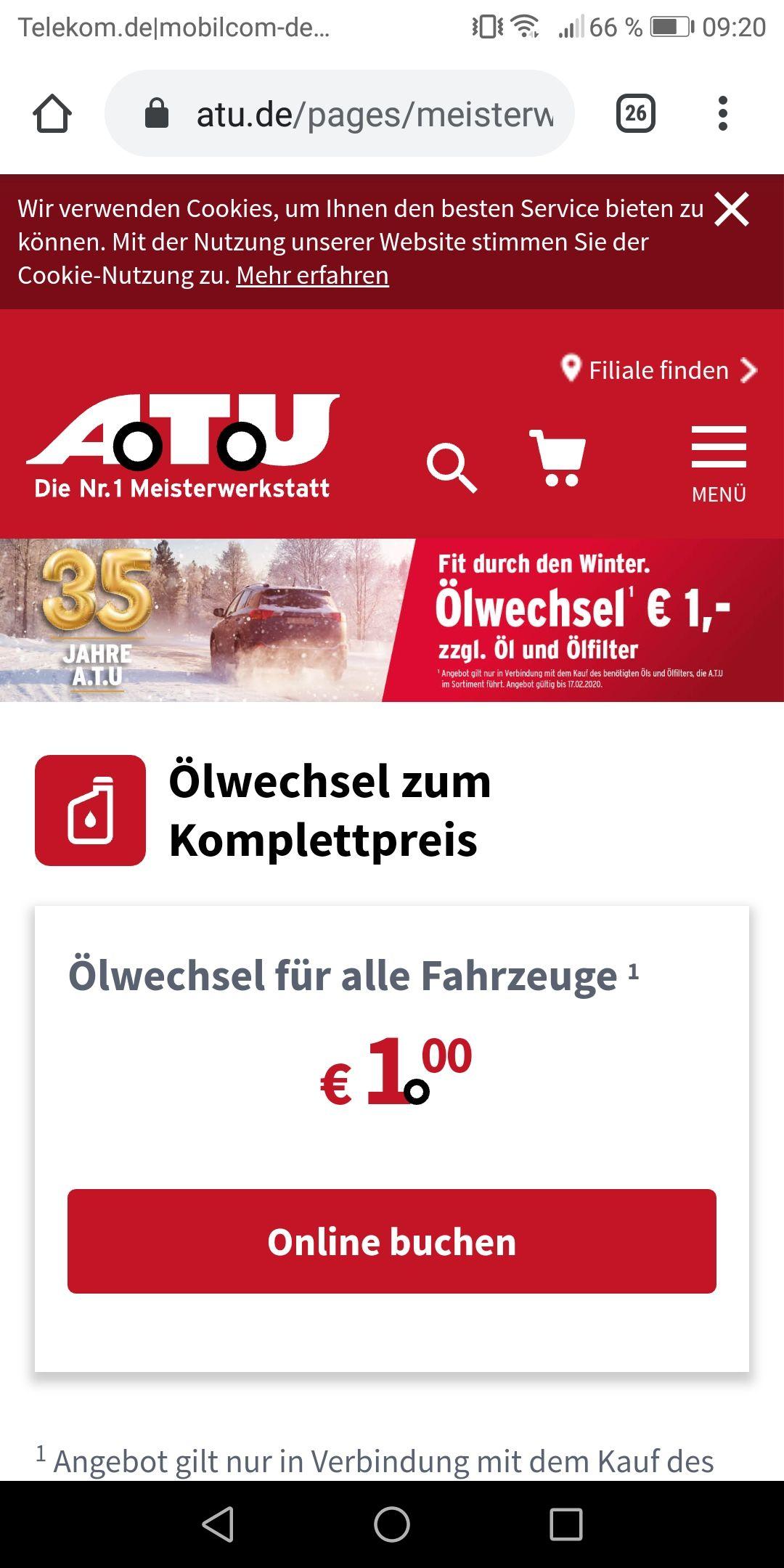 Ölwechsel bei ATU nur 1 € (zzgl. Öl und Ölfilter)