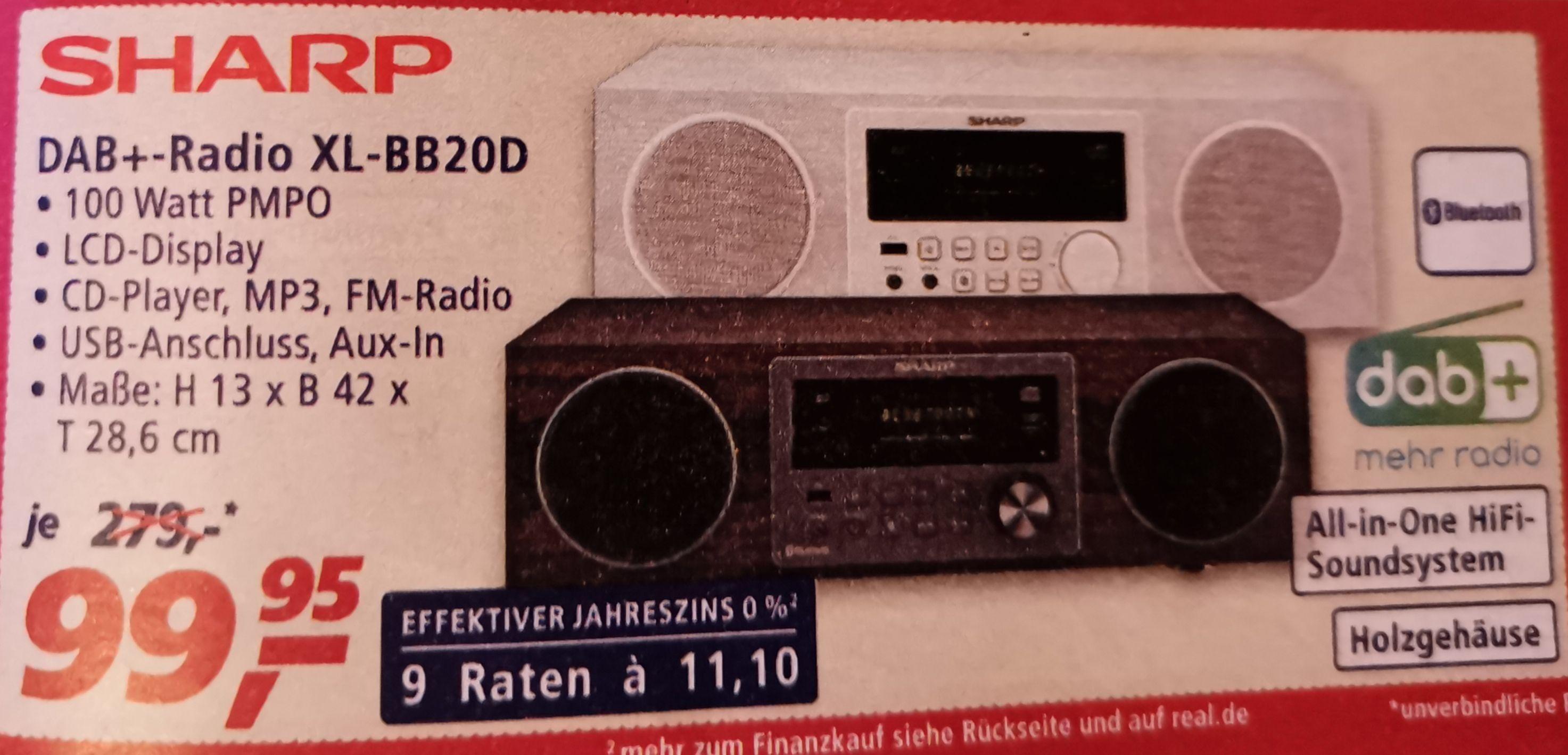 SHARP XL-BB20D(WH, BR) All in One HiFi-Soundsystem mit USB-Playback, Digital Radio, DAB, DAB+ und FM Tuner, Bluetooth, 100W, Holzoptik