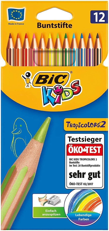[Amazon Prime] BIC Kids Tropicolors 2 Kinder Stifte - Buntstifte Set ab 5 Jahre mit bruchsicherer Mine & ohne Holz – 12 Stifte im Kartonetui