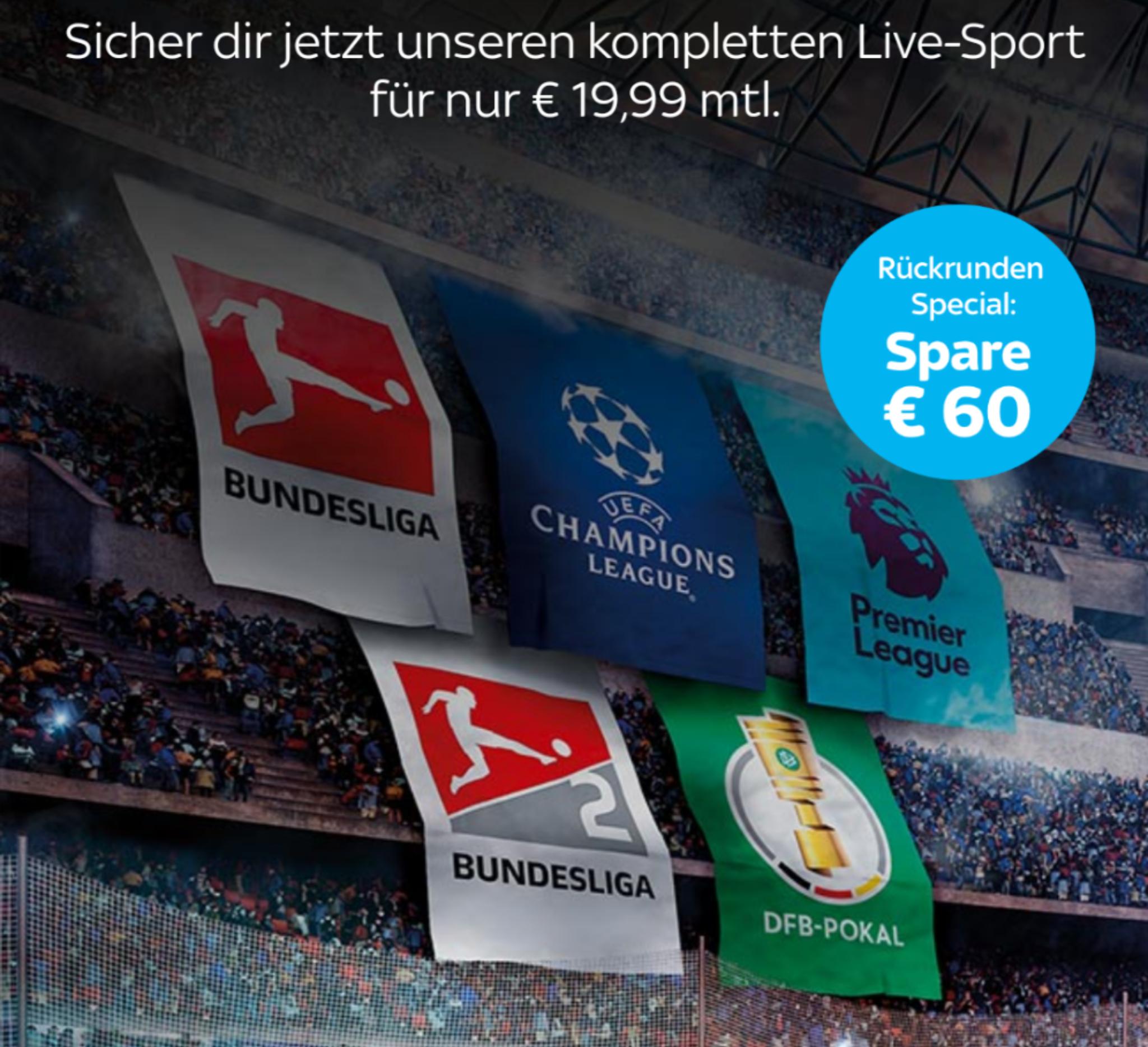 Sky Ticket Supersport 6 Monate für 19,99 mtl. [Neukunden]
