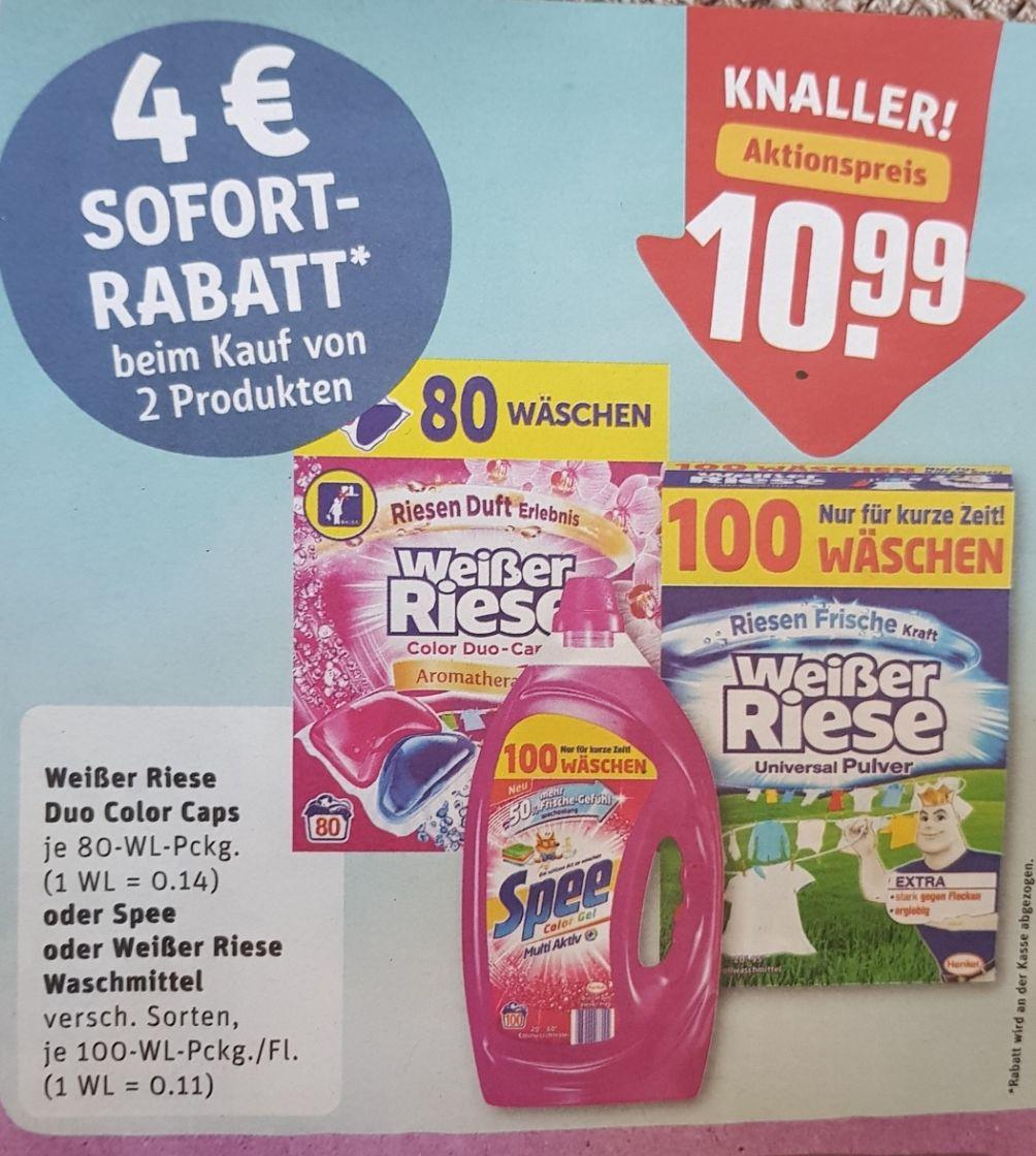 Weißer Riese / Spee Waschmittel im Angebot bei Rewe mit 4€ Sofort-Rabatt beim Kauf von 2 Produkten
