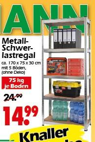 Wreesmann: Metall Schwerlastregal / Werkstattregal 5 Böden, 75kg pro Boden