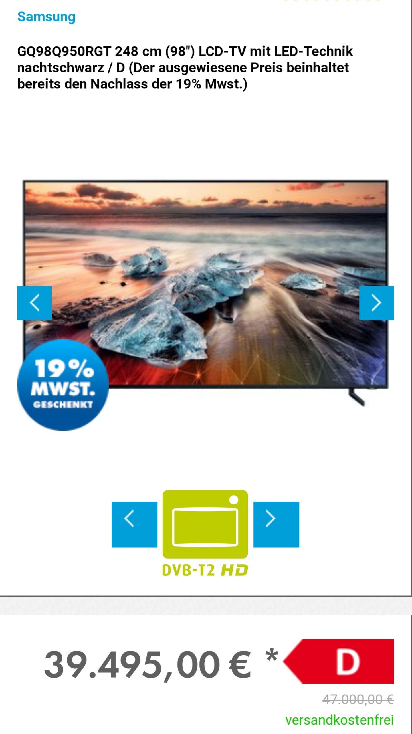 SAMSUNG GQ98Q950RGTXZG, 248 CM (98 ZOLL), UHD 8K, SMART TV, QLED TV, 4300 PQI, DVB-T2 HD, DVB-C, DVB-S, DVB-S2