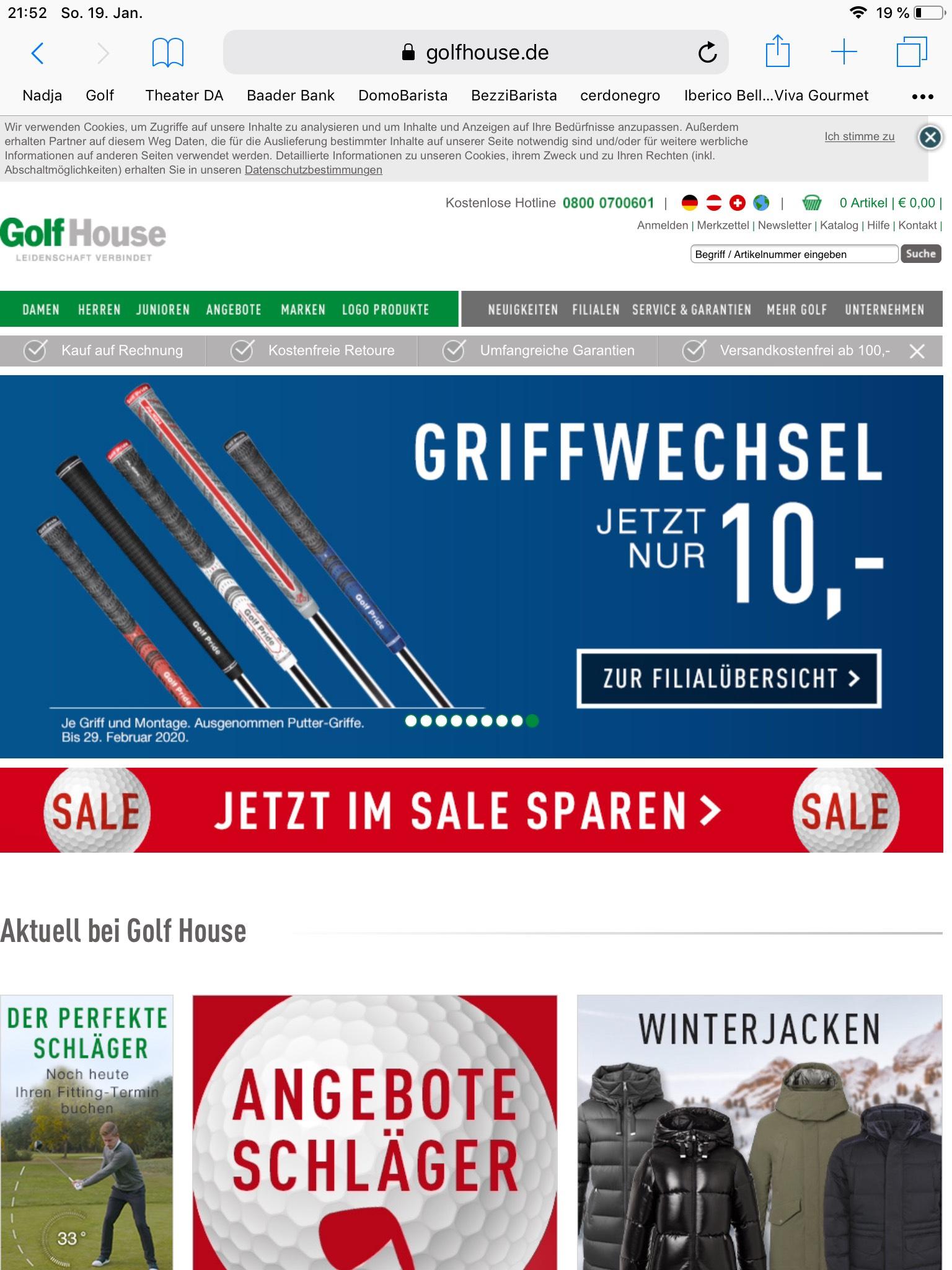 Griffwechsel wieder für 10€ im Golfhouse.