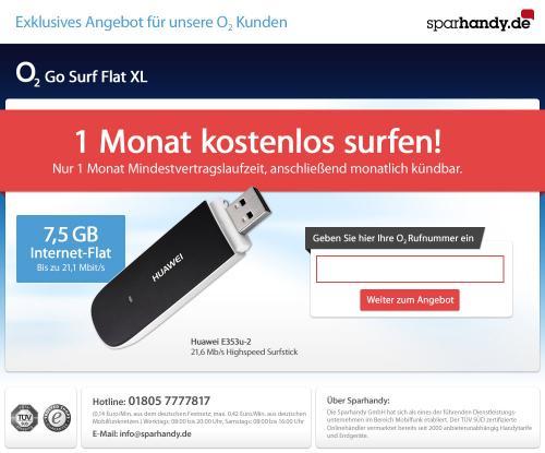 [Update] für o2-Kunden über Sparhandy: HSDPA+-Stick Huawei e353u-2 (21,6 MBit/s) für 5 Euro + o2 go XL 1 Monat kostenlos (kündigen!)
