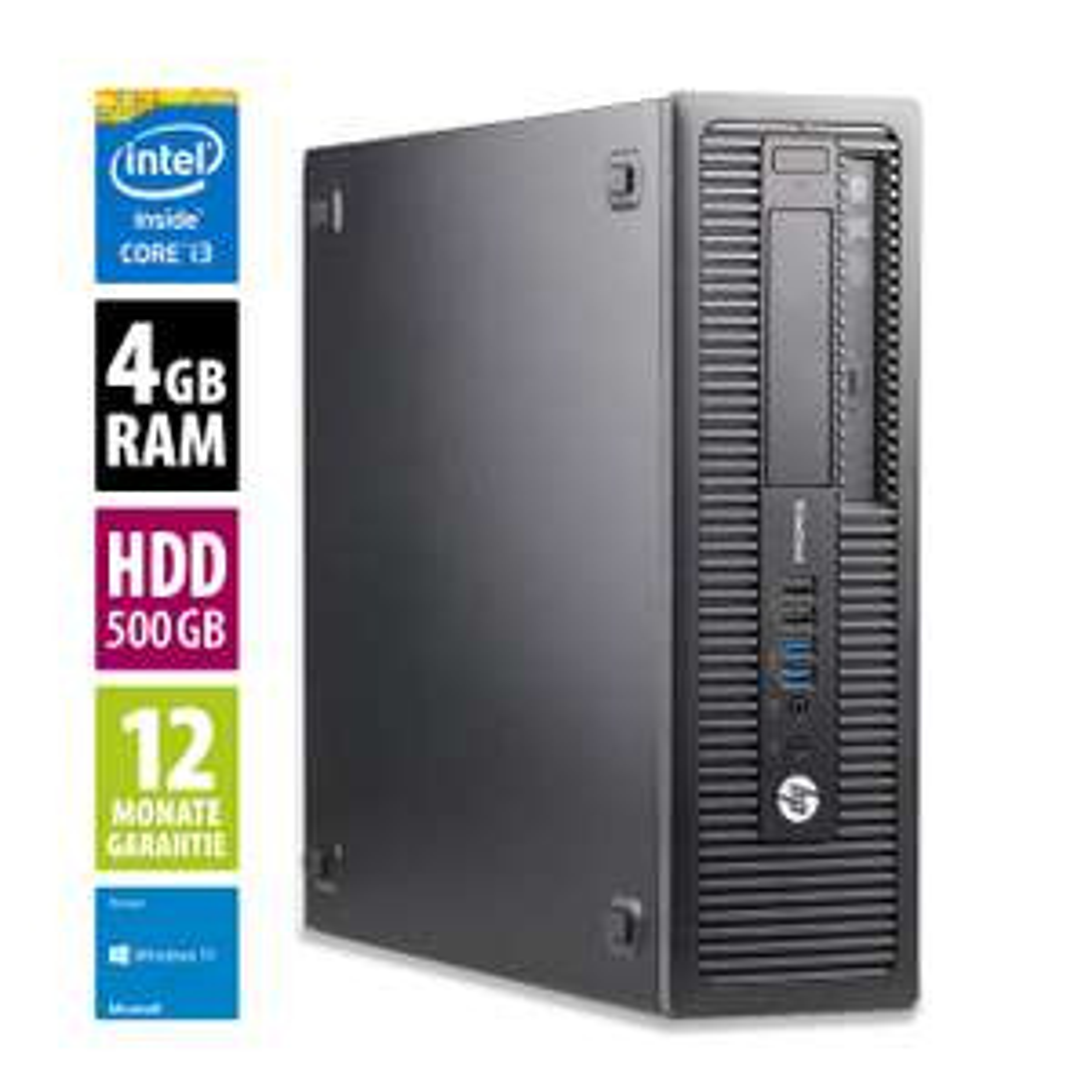 Office-Rechner HP EliteDesk 800 G1 SFF (i3-4130, 4GB DDR3-RAM, 500GB HDD, 4x USB 3.0, 6x USB 2.0, 2x DisplayPort, VGA, LAN, DVD, Win10 Home)