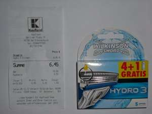 4+1 Klingen Wilkinson Sword Hydro 3 pro Stück 1,29 Euro ( Kaufland )